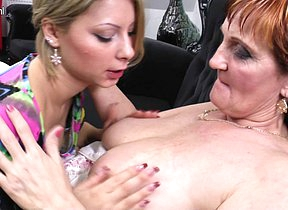 Two naughty old and young lesbians do it on the Davenport