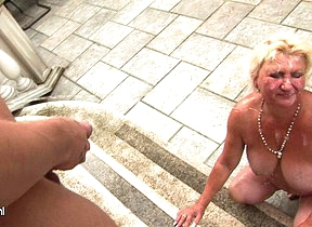 Beamy mama getting loads of cocks to swallow