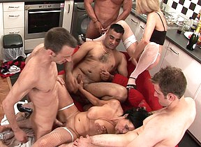 Kinky mature slut gets gang banged unending and long
