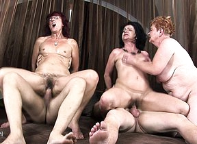 Three mature sluts get fucked at the end of one's tether two horny men