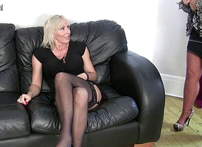 Horny mature lesbian clamp in hot action