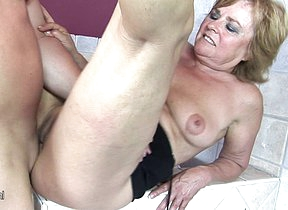 Hot blonde mature lady playing nigh herself