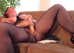 Horny housewife playing with her big dildo