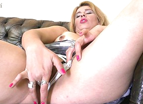 Hot housewife getting herself wet and wild