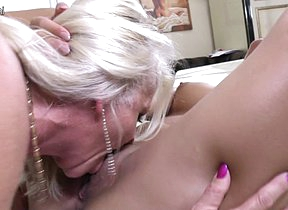 Hot old and young lesbian couple get down