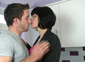 Hot British housewife gets a intrigue b passion in their way kitchen
