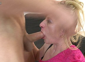 Frying housewife having it away her toy boy