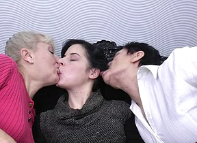One mature lesbians pleasing a hot young lesbian babe