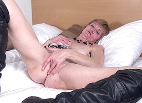 Horny Dutch matured slut playing with her wet pussy