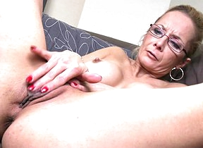 Naughty shaved housewife playing more her toy