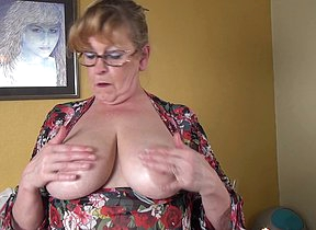 Big breasted BBW playing with their way bauble