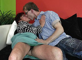 Horny mature lady seducking a toy boy for