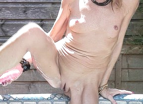 Naughty British housewife taking a dip in a difficulty hot tub
