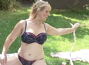 Hot Blonde British housewife going naughty at