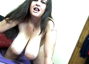 Huge breasted British housewife playing with her