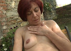 Naughty pierced mature lady effectuation with herself abroad