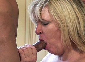 British fat mature lady munching on a black cock