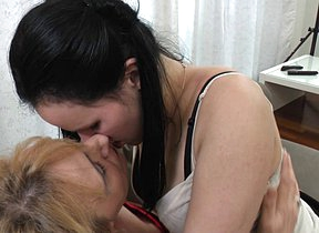 Two naughty old and young lesbians make on Easy Street wild