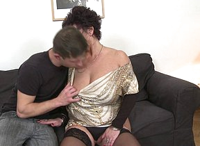 Horny mature lady fucking coupled with sucking her younger lover