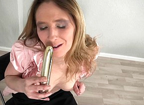 Horny German housewife playing with her pussy
