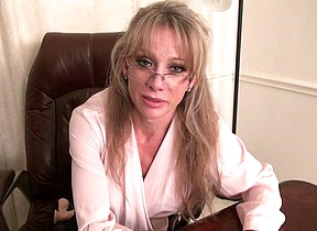 Horny American secretary playing with the brush dildo