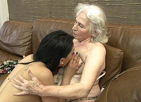 Hairy granny getting licked at the end of one's tether a hot young lesbian babe
