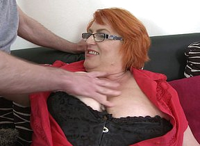 Immense breasted mature lady sucking and fucking