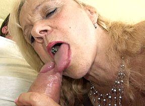 Horny German mature slut fucking and sucking on the couch