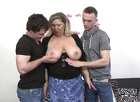 Horny big titted housewife needs two dicks to feel satisfied