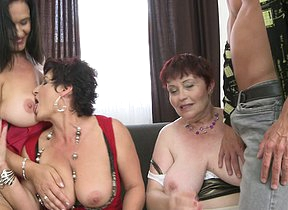 Three naughty mature ladies sharing one hard flannel