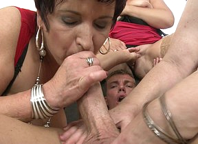Three naughty mature ladies sharing one hard