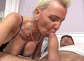 Unnatural German housewife sucks big cock and gets fucked hard