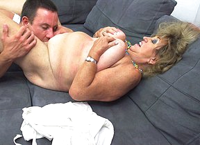 Mature BBW fucking and sucking her toy boy