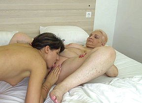 Horny old with the addition of young lesbian couple making out