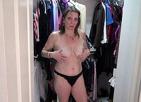 Horny American of age lady masturbating in her closet