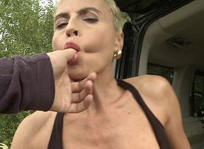 Horny housewife fucked by a car far POV germane to