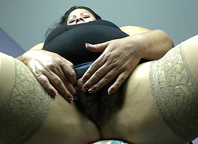 Hairy adult Latina BBW getting very frisky