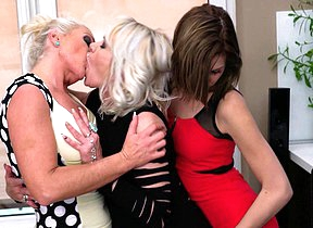 Three horn-mad old and young lesbians make out on hammer away bed