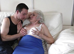 Horny grandma gets her hairy pussy fucked by her toyboy