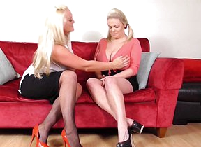 Chunky breasted British old and young lesbians having a ball