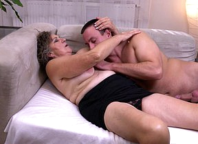Naughty mature lady playing with her toyboy