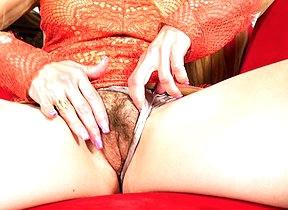 Hairy American housewife playing with her pussy