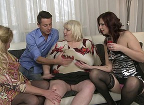 A handful of housewives fucking and sucking two guy