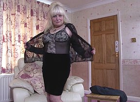 Chubby British mature lady bringing off with herself