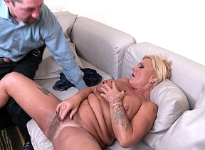 Hairy naughty housewife fucking and sucking