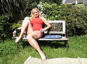 British housewife getting some sun together with then some