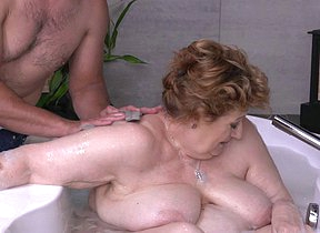 Bath taking very granny old