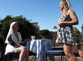 British old and young lesbians make in foreign lands in burnish apply garden
