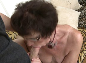 Horny grandma sucks and fucks her toyboy
