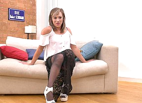 Hot steamy British MILF getting wet on her couch
